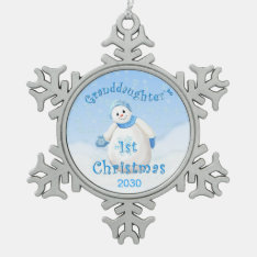 Granddaughter's 1st Christmas Snowman Snowflake Pewter Christmas Ornament at Zazzle