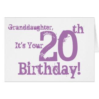 Granddaughter's 20th birthday in purple. card