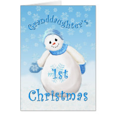 Granddaughter's First Christmas Snowman Greeting C Card at Zazzle