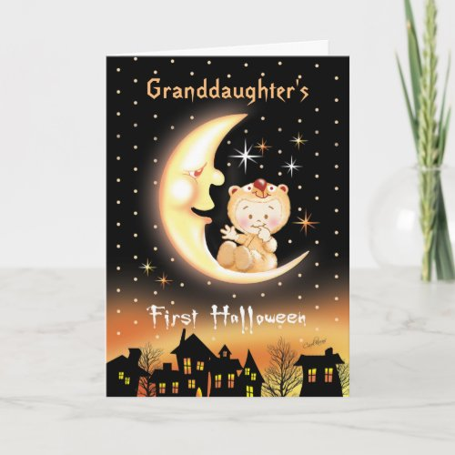 Granddaughters First Halloween Moon Baby Card