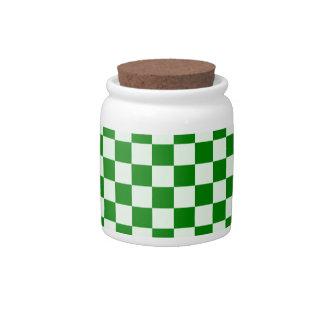 Grande a cuadros - 1-Offwhitegreen verde y verde Plato Para Caramelo