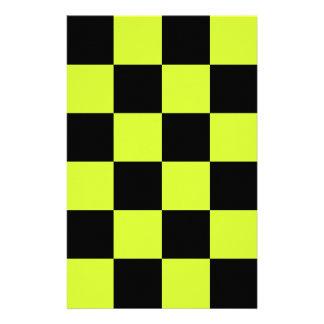 Grande a cuadros - amarillo negro y fluorescente papelería de diseño