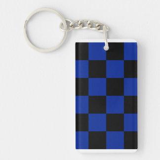 Grande a cuadros - azul negro e imperial llavero