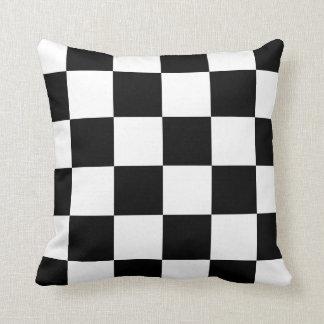 Grande a cuadros - blanco y negro cojín decorativo