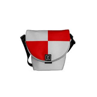 Grande a cuadros - blanco y rojo bolsas de mensajería