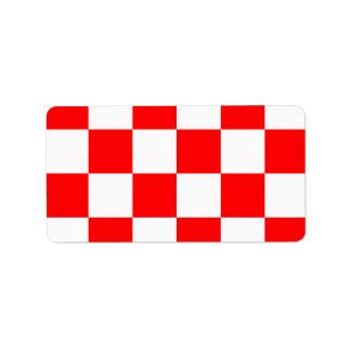 Grande a cuadros - blanco y rojo etiqueta de dirección