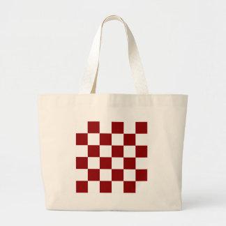 Grande a cuadros - blanco y rojo oscuro bolsa tela grande