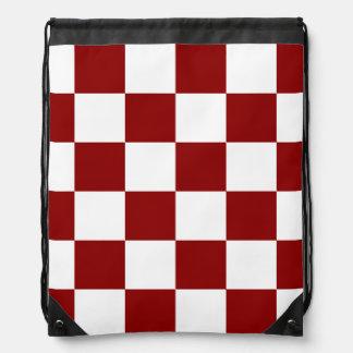 Grande a cuadros - blanco y rojo oscuro mochilas