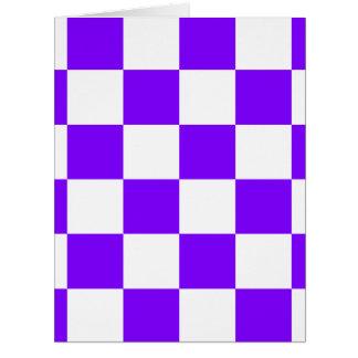 Grande a cuadros - blanco y violeta tarjeta de felicitación grande