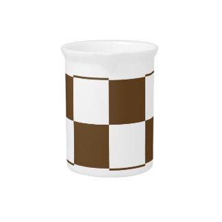Grande a cuadros - Brown blanco y oscuro Jarras Para Bebida