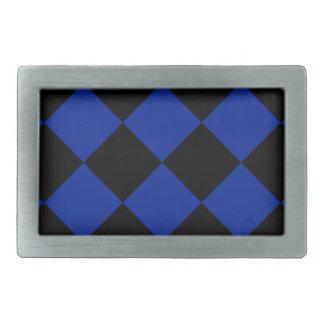 Grande a cuadros de Diag - azul negro e imperial Hebilla Cinturon Rectangular