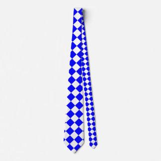 Grande a cuadros de Diag - blanco y azul Corbata Personalizada