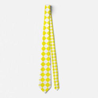 Grande a cuadros de Diag - blanco y limón Corbata Personalizada