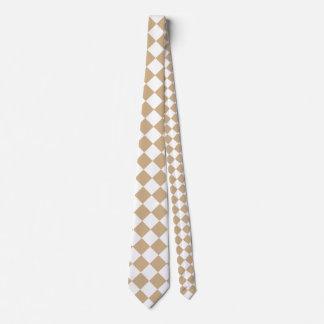 Grande a cuadros de Diag - blanco y moreno Corbata Personalizada