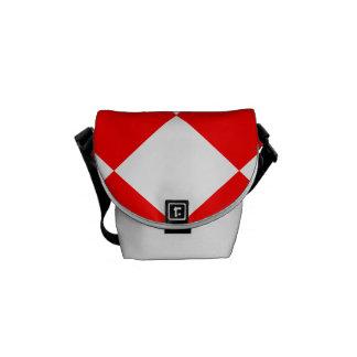 Grande a cuadros de Diag - blanco y rojo Bolsa Messenger
