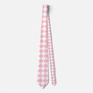 Grande a cuadros de Diag - blanco y rosa Corbatas Personalizadas