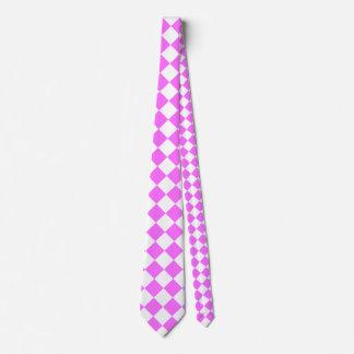 Grande a cuadros de Diag - blanco y ultra rosa Corbata