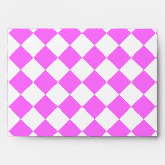 Grande a cuadros de Diag - blanco y ultra rosa Sobres