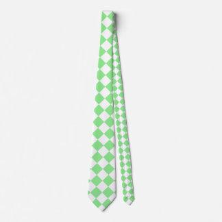 Grande a cuadros de Diag - blanco y verde claro Corbata Personalizada