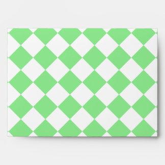 Grande a cuadros de Diag - blanco y verde claro Sobres