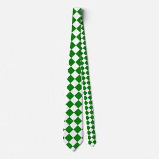 Grande a cuadros de Diag - blanco y verde Corbata Personalizada