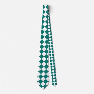 Grande a cuadros de Diag - blanco y verde del pino Corbata