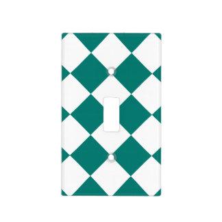 Grande a cuadros de Diag - blanco y verde del pino Tapas Para Interruptores