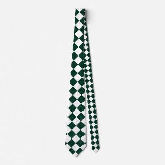 Grande a cuadros de Diag - blanco y verde oscuro Corbatas Personalizadas