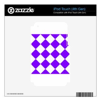 Grande a cuadros de Diag - blanco y violeta iPod Touch 4G Skin