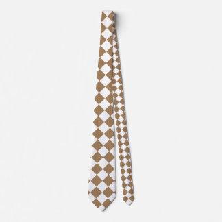 Grande a cuadros de Diag - Brown blanco y pálido Corbata Personalizada