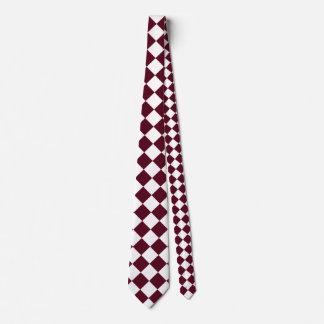Grande a cuadros de Diag - escarlata blanco y Corbatas Personalizadas
