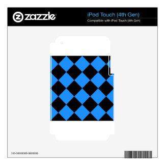 Grande a cuadros de Diag - negro y azul Calcomanías Para iPod Touch 4G