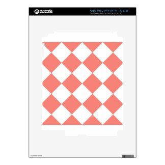 Grande a cuadros de Diag - rosa blanco y del coral Pegatinas Skins Para iPad 3