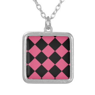 Grande a cuadros de Diag - rosa negro y oscuro Collar Plateado