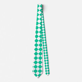 Grande a cuadros de Diag - verde blanco y del Corbata Personalizada