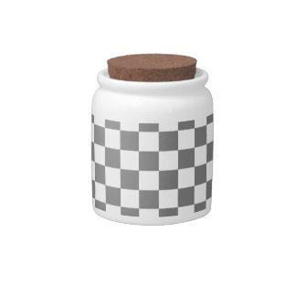 Grande a cuadros - gris y gris claro jarras para caramelos