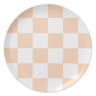 Grande a cuadros - melocotón blanco y profundo plato para fiesta