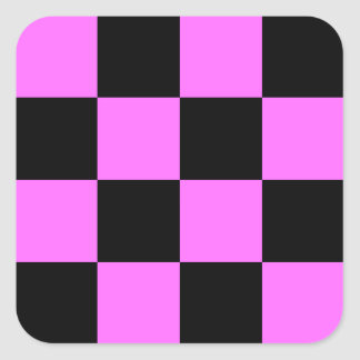 Grande a cuadros - negro y ultra rosa pegatina cuadrada