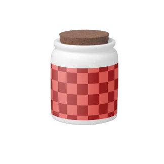 Grande a cuadros - rojo en colores pastel y Firebr Platos Para Caramelos