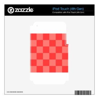 Grande a cuadros - rojo y rojo claro iPod touch 4G skins