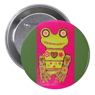 Grande, botón redondo 3-Inch con la rana fresca Pin Redondo De 3 Pulgadas