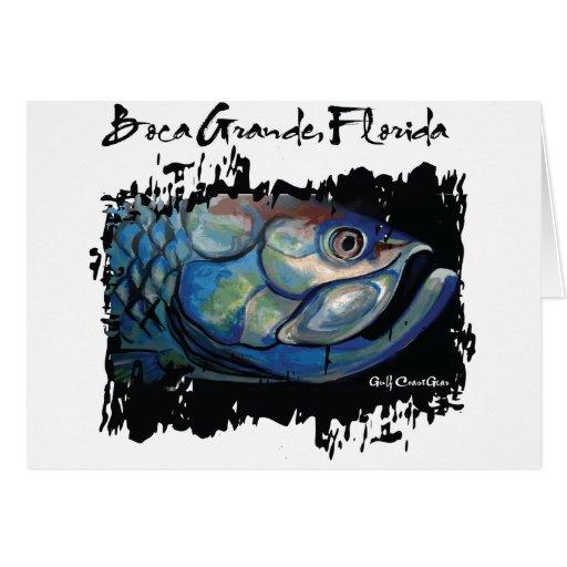 Grande cabeza azul del tarpón de GCG Boca Tarjetón