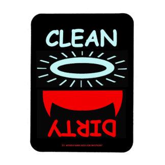 Grande divertido del lavaplatos sucio limpio imán rectangular