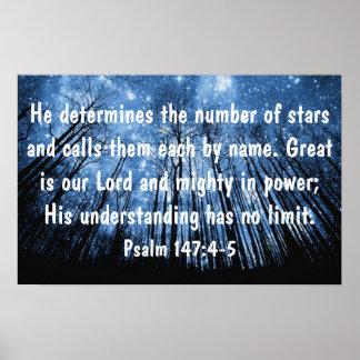 Grande es nuestro 147:4 de los salmos del verso de póster