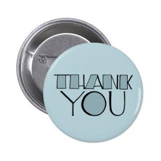 Grande gracias botón azul pin