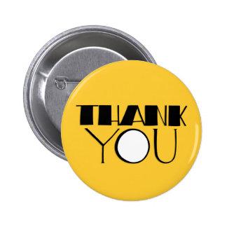 Grande gracias botón negro pin