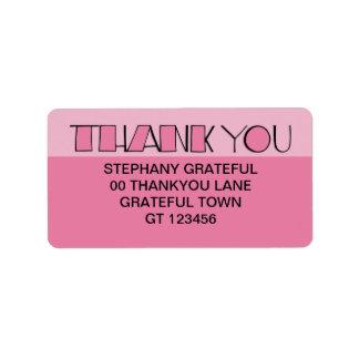 Grande gracias etiqueta de dirección rosada