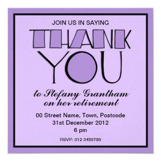 Grande gracias invitación púrpura del retiro