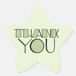Grande gracias pegatina verde de la estrella
