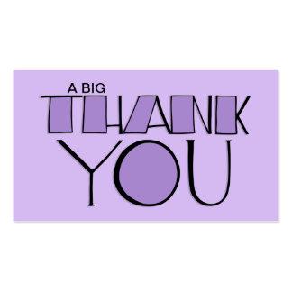 Grande gracias tarjeta de visita púrpura